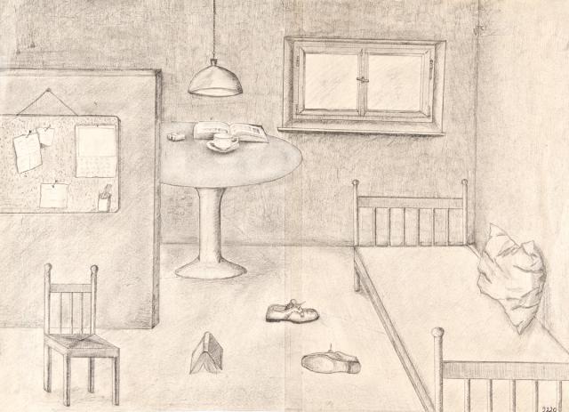 grafik gegenst ndliche zeichnung bleistiftzeichnung geb ude blick in ein zimmer. Black Bedroom Furniture Sets. Home Design Ideas