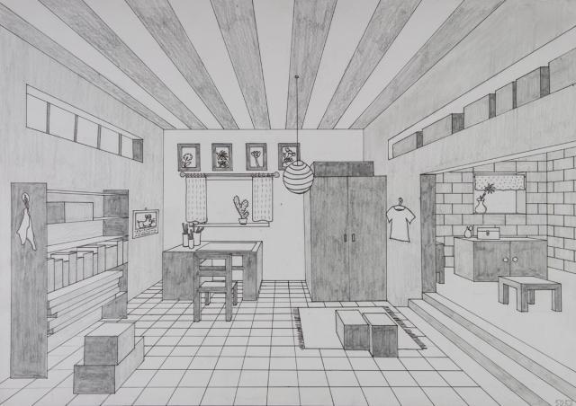 grafik gegenst ndliche zeichnung geometrische zeichnung mit lineal zentralperspektive. Black Bedroom Furniture Sets. Home Design Ideas